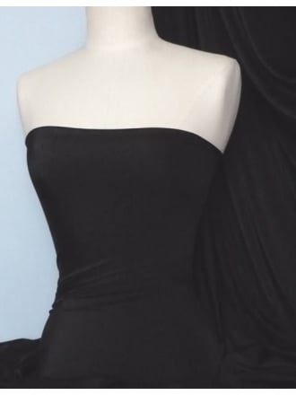 Clearance Tactel Lightweight 4 Way Stretch Peach Skin Fabric- Black SQ74 BK