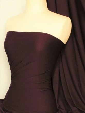 Paris Mesh Non-Lycra 4 Way Stretch Light Jersey Fabric- Plum Q450 PLM