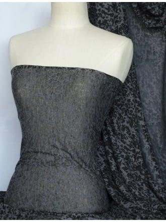 Viscose Burnout Stretch Fabric- Black/Grey Mini Leopard Q975 BKGR