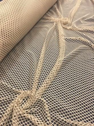 20 METRES Fishnet (6mm) 4 Way Stretch Material Job Lot Bolt- Stone JBL6 STN