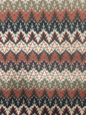 100% Polyester Knit Scalloped Edge Stretch Fabric- Aztec Rust/Multi SQ212 RST