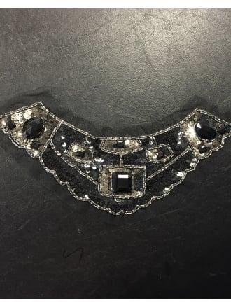 12 PACK Jewel Encrusted Collar Neck Piece Job Lot Bolt Pack- Black JBL24 BK