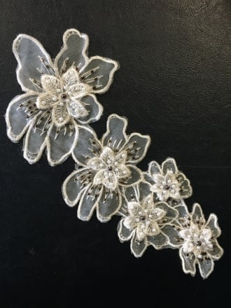 Net Beaded Flower Appliqué- Ivory EM128 IV