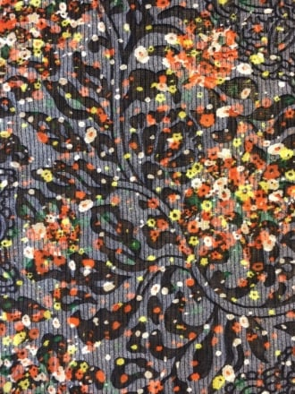 Poly Viscose Light Weight Sheer Burnout Stretch Fabric- Navy/Multi Floral Q1207 NYMLT