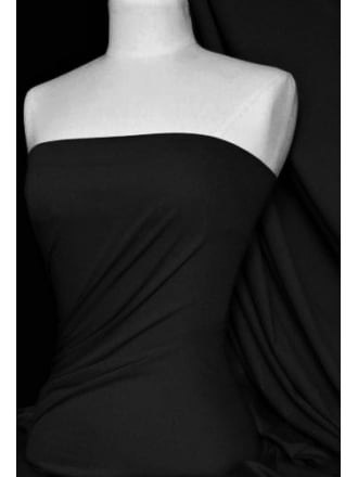 Clearance (1 Metre) Poly Rib 1 x 1 Stretch Jersey Fabric- Black SQ215 BK