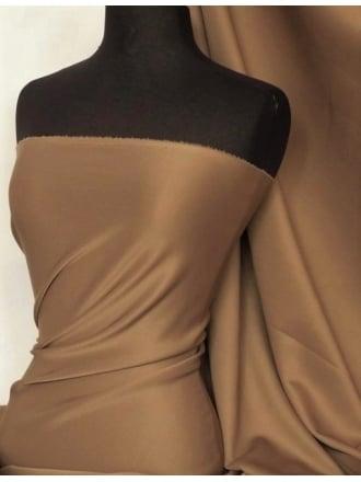 Scuba Stretch Poly Lycra Fabric- Mocha Brown Q792 MCH