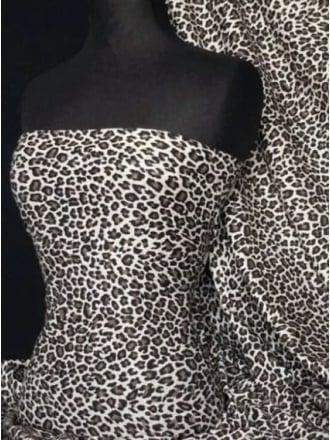 Viscose Cotton Stretch Fabric- Grey/Black Cheetah TK13 GRBK