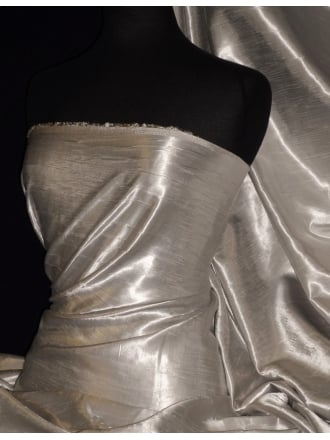 Satin Crushed Charlotte Crinkle Look Creased Fabric- Champagne STN63 CHAMP