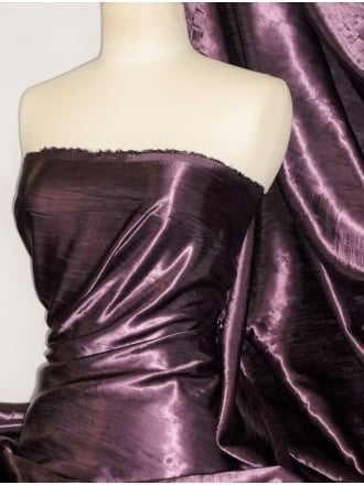 Satin Crushed Charlotte Crinkle Look Creased Fabric- Plum STN63 PLM