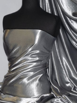 Satin Antique Silk Non-Stretch Soft Fabric- Gunmetal Grey STN65 GNM