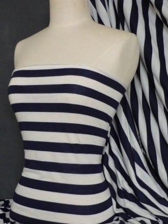 100% Viscose Fabric- Stripe Navy/Cream Q616 NYCRM