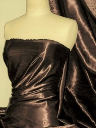 Satin Crushed Charlotte Creased Look Fabric- Dark Chocolate STN66 DKCH