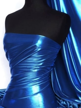Wet Look Foil Stretch Lycra Fabric- Royal Blue NG253 RBL