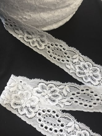 10 METRES Lace Stretch Floral Trimming Job Lot Bolt Pack- White JBL39 WHT