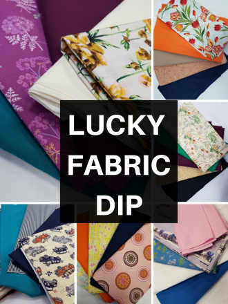 Lucky Dip Fabric Bundle- Printed & Plain Cotton Pack Arts/Crafts Projects