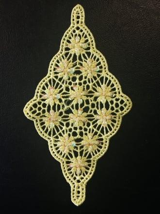 Cotton Crochet Diamond Embellishment- Lemon EM358 LMN