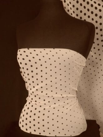 Chiffon Soft Touch Print Fabric- Nude/ Black Polka Dot Q1250 NDBK