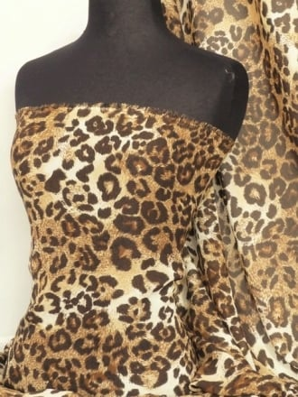 Chiffon Soft Touch Sheer Fabric - Cream/Brown Leopard Q823 CRMBR