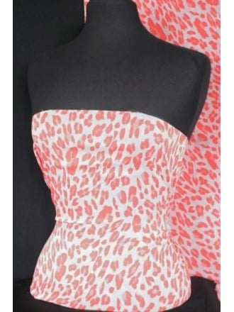 Chiffon Soft Touch Sheer Fabric- Coral Pink Leopard Q1255 CPN
