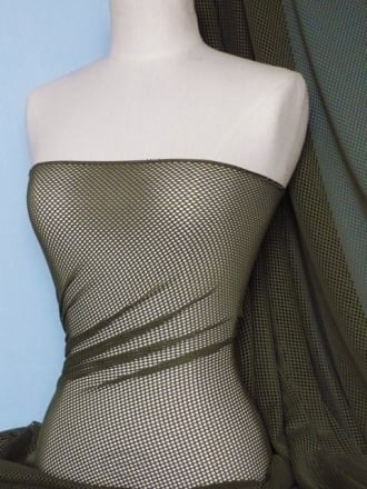Fishnet 4 Way Stretch Fabric Material- Khaki Green Q1335 KHGR