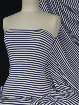 Viscose Cotton 4 Way Stretch Fabric- Narrow Stripe Navy/ White Q1139 NYWHT