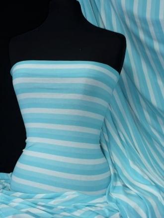 Viscose Cotton 4 Way Stretch Fabric- Stripe Aqua Blue/White Q320 BLWHT