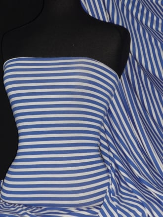 Viscose Cotton 4 Way Stretch Fabric- Horizontal Stripe Royal Blue/White Q1103 RBLWHT