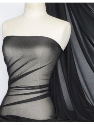 Silky Chiffon Sheer Fabric Material- Black Q727 BK