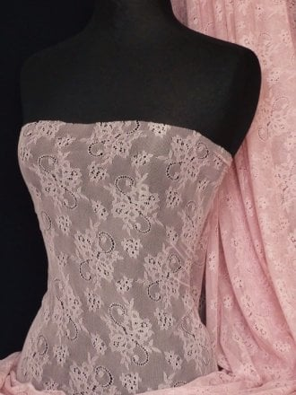 Antique Stretch Lace Fabric- Dusky Pink Q541 DPN