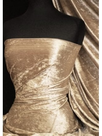 Crushed Velvet/Velour Stretch Material- Champagne Q156 CHAMP