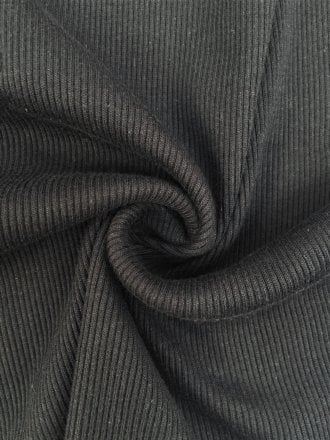 100% Cotton (1 Metre) Soft Fine Rib Knit Material- Black SQ246 BK