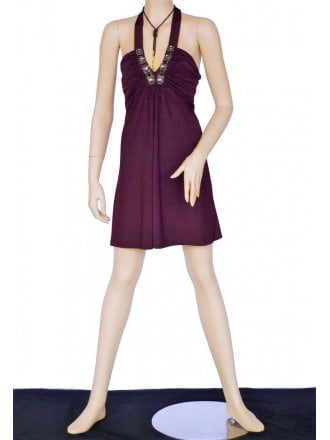 Little Plum Embellished Halter-Neck Dress