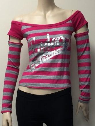 Women's J'adore Racer Girl Long Sleeve Stripe Top- Cerise/Grey