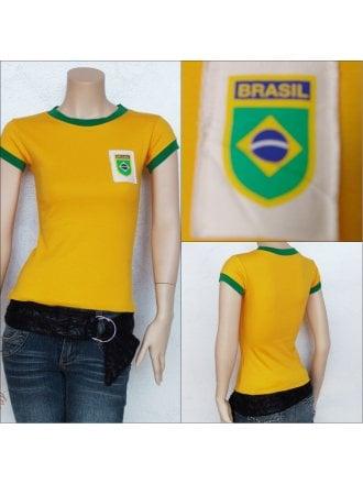 100% Cotton Brazil Football T-Shirt- Yellow