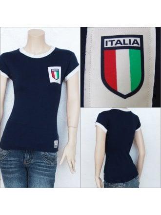 100% Cotton Italy Football T-Shirt- Navy