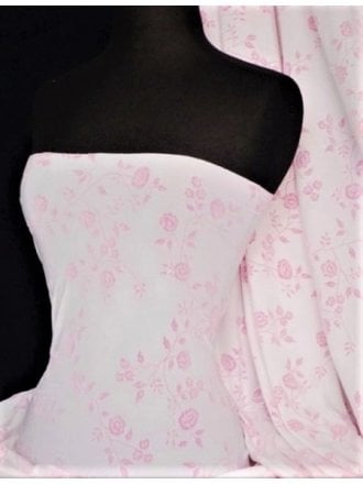 Light Jersey Stretch Material- Pink Floral Glitter Q914 WHTPN