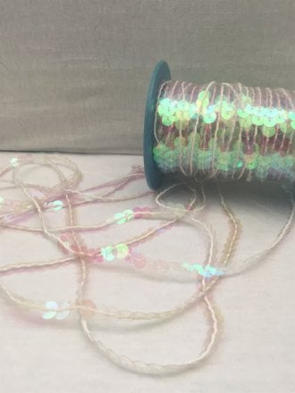 3 Metres Sequin String Trimming- Clear Pink Hologram SY61 WHTPN