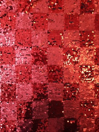 Showtime Fabric All Over Stitched Sequins Mesh- Red Blocks SEQ63 RD