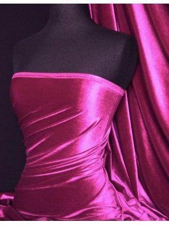 Velvet /Velour 4 Way Stretch Spandex Lycra- Fuchsia Pink Q559 FCH