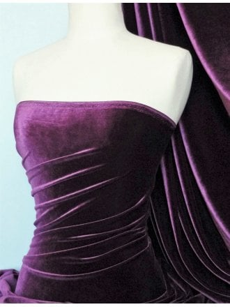 Velvet /Velour 4 Way Stretch Spandex Lycra- Aubergine Q559 AUB