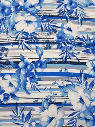 100% Viscose Light Weight Woven Material- Hawaiian Blues VSC242 RBLWH