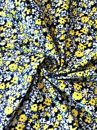 Cotton Lycra Jersey 4 Way Stretch Fabric - Yellow Florals SQ258 YLWH