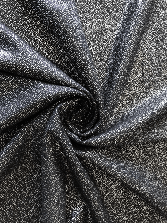 Soft Touch Fog Foil Stretch Fabric- Black/Silver SQ260 BKSLV