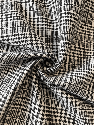 Ponte Stretch Gingham Fabric- Black/White SQ263 BKWH