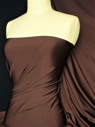 Clearance Shiny Lycra 4 Way Stretch Lightweight Material- Hazel Brown SQ68 HZBR