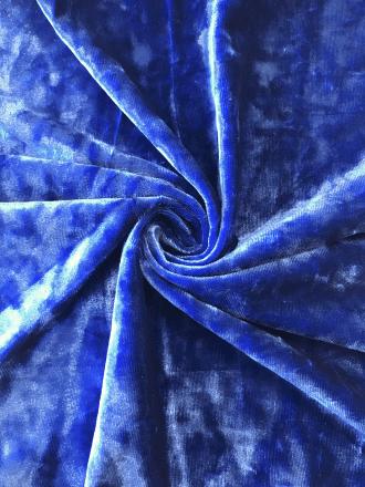 Marble Texture Velvet Lycra 4 Way Stretch Fabric- Mid Blue Q172 MDBL