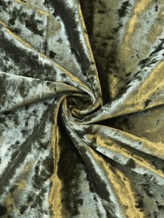 Marble Texture Velvet Lycra 4 Way Stretch Fabric- Khaki Green Q172 KH