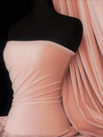 Velvet/Velour 4 Way Stretch Spandex Lycra- Peach Q559 PCH