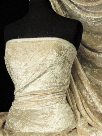 Crushed Glitz Velour/Velvet Woven Interior Fabric- Oatmeal SQ269 OAT