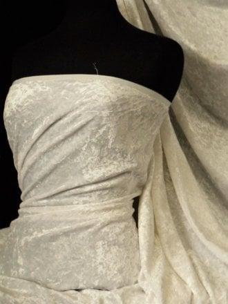 Crushed Glitz Velour/Velvet Woven Interior Fabric- Ivory SQ269 IV